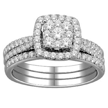 Imperial Diamond Collection 1.00 ct. t.w. Square Bridal Set in 14k White Gold (I, I1)