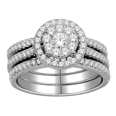 Imperial Diamond Collection 1.00 ct. t.w. Circular Bridal Set in14k White Gold (I, I1)