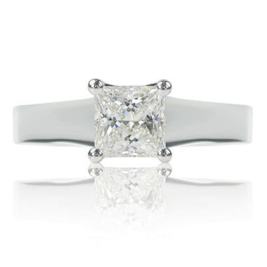 1.02 ct. Princess Cut Diamond 14k White Gold Solitaire Ring (D, VS1)