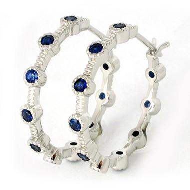 0.80 CT. T.W. Blue Sapphire Hoop Earrings in 18K White Gold