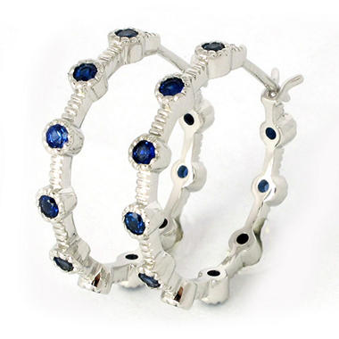 0.80 CT. T.W. Blue Sapphire Hoop Earrings in 18K White Gold