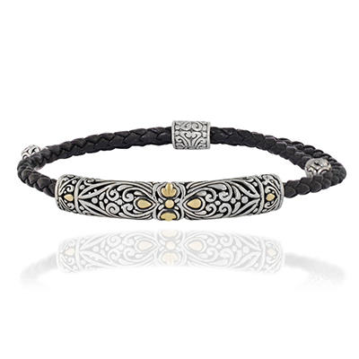 Robert Manse Adjustable Leather Bracelet in Sterling Silver with 18 Karat Gold Accents