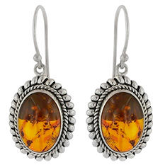 Robert Manse Rope Framed Oval Amber Earrings in Sterling Silver