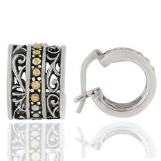 Robert Manse Scrollwork and Plong Earrings in Sterling Silver with 18 Karat Gold Accents