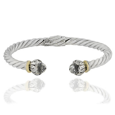 Robert Manse Hinged Cable Bracelet with White Topaz Briolettes in Sterling Silver with 18K Gold Accents