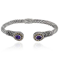 Robert Manse Amethyst Cuff Bracelet in Sterling Silver with 18 Karat Gold Accents