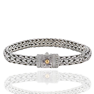 Robert Manse Bali Eternity Weave Bracelet in Sterling Silver with 18 Karat Gold Accents
