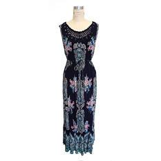 Bila Crochet Lace-Neck Maxi Dress (Assorted Colors)