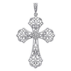 0.13 ct. t.w. Diamond Cross Pendant in 14k White Gold (H-I, I1)