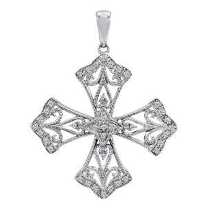 0.15 ct. t.w. Antique-Style Celtic Cross Pendant in 14k White Gold (H-I, I1)