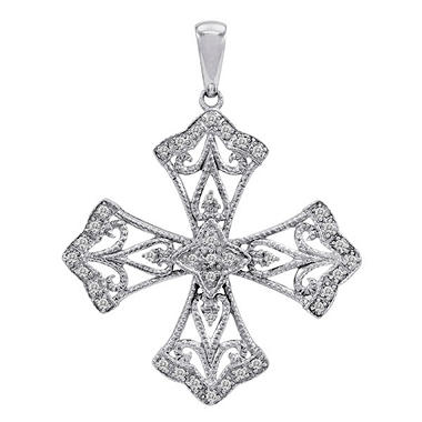 0.15 ct. t.w. Antique-Style Celtic Cross Pendant in 14k White Gold (H-I, I1)