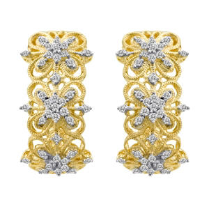 0.50 ct. t.w. Diamond Milgrain Hoop Earrings in 14k Yellow Gold (H-I, I1)