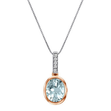 1.50 ct. t.w. Aquamarine and Diamond Accent Pendant in 14k Two-Tone Gold