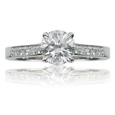 1.25 ct. t.w. Round Brilliant Diamond and 14k White Gold Engagement Ring (F, VS2)