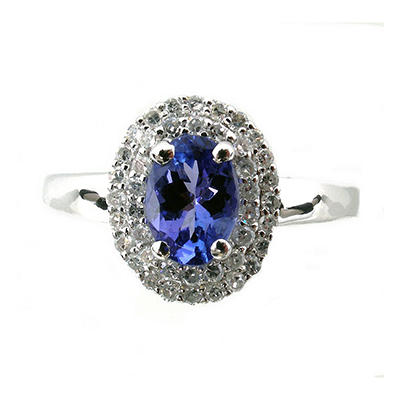 0.70 ct. Oval Tanzanite 0.30 ct. t.w. Diamond Ring 14K White Gold (H-I, I1)