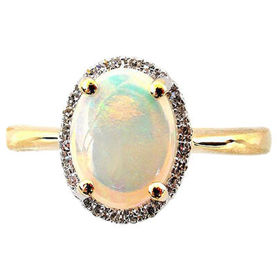 0.75 ct. Oval Opal, 0.07 ct. t.w. Diamond 14K Yellow Gold (H-I, I1) Ring