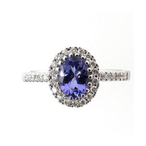 0.70 ct. t.w. Oval Tanzanite 0.30 ct. t.w. Diamong Ring in 14K White Gold