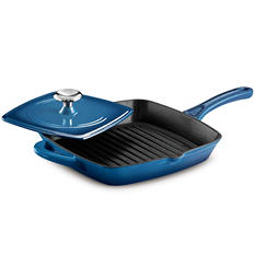 "Tramontina 11"" Cast Iron Grill Pan w/ Panini Press - Assorted Colors"
