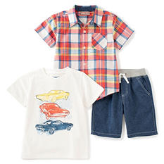 Kids Headquarters Boys' 3-Piece Short Set - Blue Shorts with Plaid Shirt and White T-Shirt