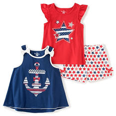 Kids Headquarters Girls' 3-Piece Short Set - Americana Shorts with Red Printed Jersey and Blue Printed Tank
