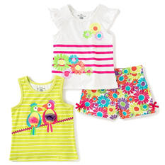 Kids Headquarters Girls' 3-Piece Short Set - Floral Multi-Colored Shorts with White Floral Jeresey and Yellow Printed Jersey