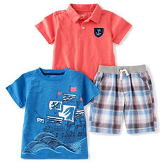 Kids Headquarters Boys' 3-Piece Short Set - Blue Plaid Shorts with Orange Polo and Blue Printed T-Shirt