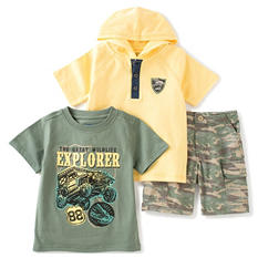 Kids Headquarters Boy's 3-Piece Short Set - Camo Shorts with Yellow Hoodie and Green T-Shirt