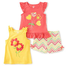 Kids Headquarters Girls' 3-Piece Short Set - Yellow Chevron Shorts with Pink Printed Jersey and Yellow Printed Tank