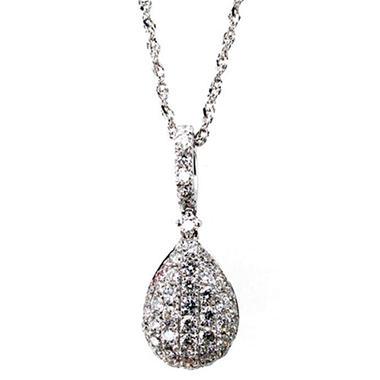 0.25 ct. t.w. Brilliant Diamond Teardrop Dangle Pendant in 14k White Gold (G,SI2)