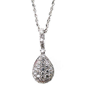 0.25 ct. t.w. Brilliant Diamond Teardrop Dangle Pendant in 14k White Gold (G,SI2)