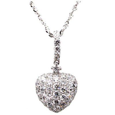 0.32 ct. t.w. Round Diamond Heart Pendant in 14k White Gold (G,SI2)