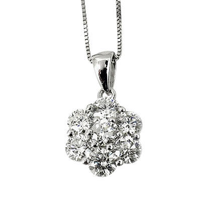 0.75 ct. t.w. Round Diamond Flower Pendant in 18k White Gold (G,SI2)