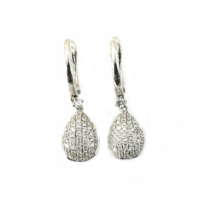 0.45 ct. t.w. Round Diamond Teardrop Dangle Earrings in 14k White Gold (G,SI2)