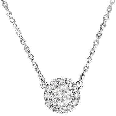 0.73 ct. t.w. Round Diamond  Pendant in 18k White Gold (G, SI2)