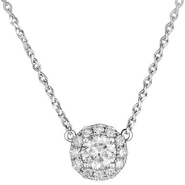 0.73 ct. t.w. Round Diamond  Pendant in 18k White Gold (G, SI2)