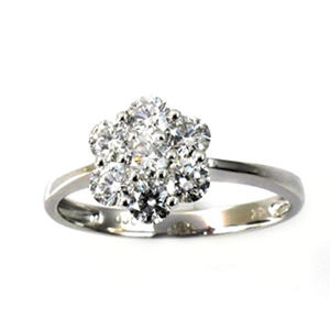 0.75 ct. t.w. Round Diamond Fashion Flower Ring in 18k White Gold (G,SI2)