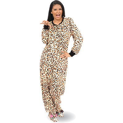 Ladies Micro Fleece One Piece Footed Pajama  (Assorted Styles)