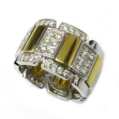 Sonia B. 1.02 ct. t.w. Diamond Station Band in 18k White & Yellow Gold (G-H,SI1-SI2)
