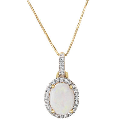 Oval Opal And Diamond Pendant in 14K Yellow Gold