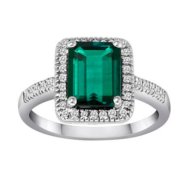 Lab Created Emerald and Diamond Ring in 14k White Gold