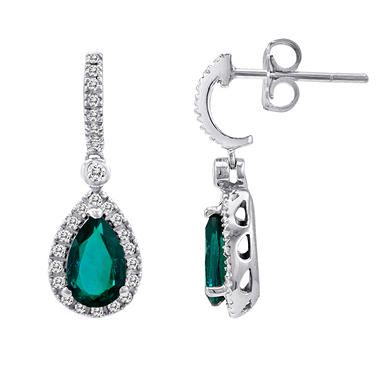 Lab Created Emerald and Diamond Earrings in 14k White Gold