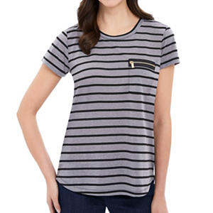 Ladies Linen Zip Pocket Stripe Tee (Assorted)