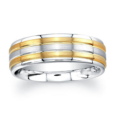 7mm Wedding Band in Cobalt and 14K Yellow Gold