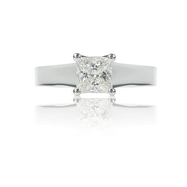 1.01 ct. Princess-Cut Diamond, 14K White Gold Luxury Solitaire Ring (F, VS1)