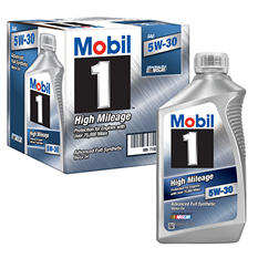 Mobil 1 5W-30 High Mileage Advanced Full Synthetic Motor Oil - 6 Pk 1 qt. bottles