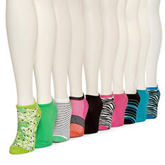 Burlington Women's 10 Pair No Show Liner Socks (Assorted Colors)