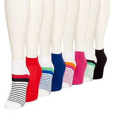 Burlington Women's 8 Pair Multi Color Cushioned Quarter Top Socks