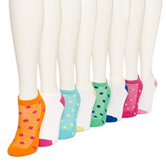 Burlington Women's 8 Pair Multi Color Cushioned No Show Socks