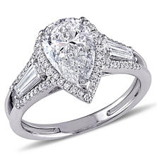 2.75 CT. T.W. Diamond Three-Stone Halo Engagement Ring in 14K White Gold