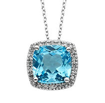 Click here for Blue Topaz and Diamond Pendant in 14K White Gold prices